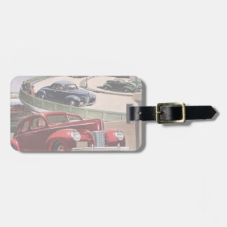 Vintage Classic Sedan Cars Driving on the Freeway Tag For Luggage