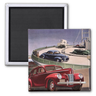 Vintage Classic Sedan Cars Driving on the Freeway Magnet