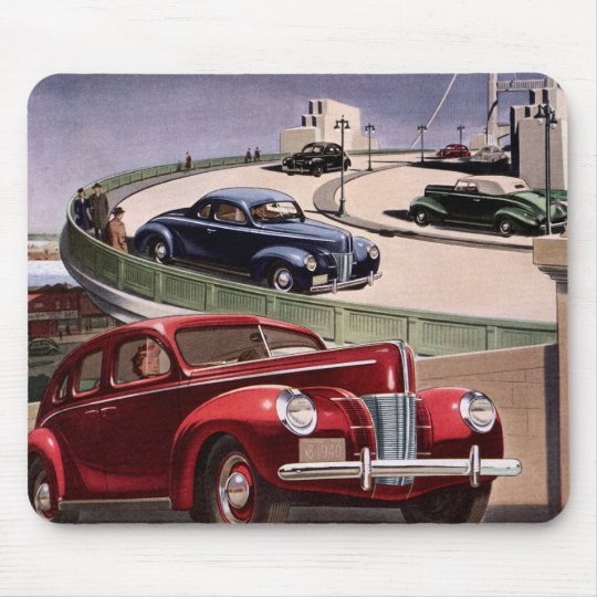 Vintage Classic Sedan Cars Driving on the Freeway Mouse Pad