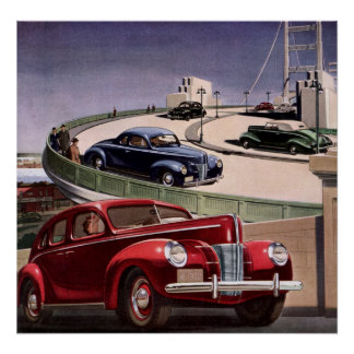 Vintage Classic Sedan Cars Driving on the Freeway Poster