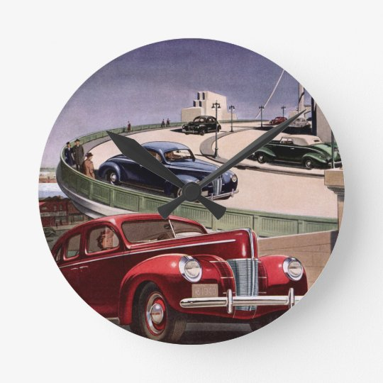 Vintage Classic Sedan Cars Driving on the Freeway Round Clock
