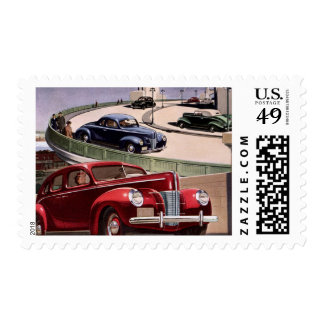Vintage Classic Sedan Cars Driving on the Freeway Stamp