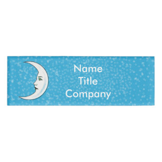 Vintage Classy Crescent Moon Face Stars blue Name Tag