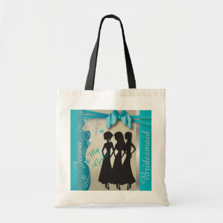 Vintage Classy Curvy Design | Turquoise Blue Canvas Bags