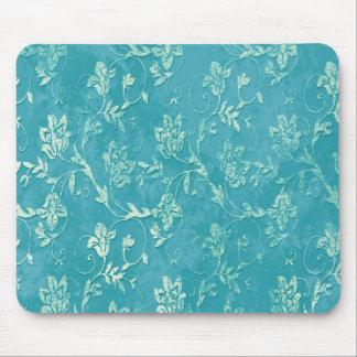 Vintage classy floral  teal monogram mouse pad