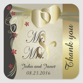 Vintage Classy Gold Heart Wedding Collection Square Sticker