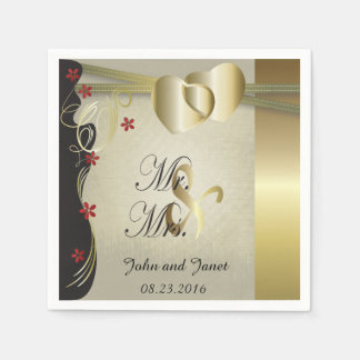Vintage Classy Gold Heart Wedding Collection Paper Napkins