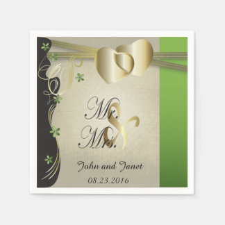 Vintage Classy Gold Heart with Peridot Flowers Standard Cocktail Napkin