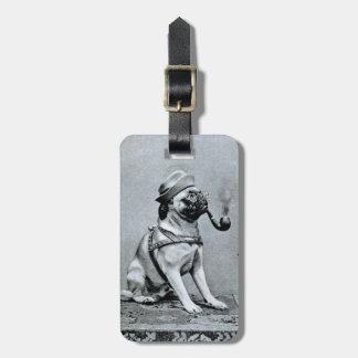 Vintage Classy Pug Photograph Bag Tag