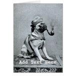Vintage Classy Pug Photograph Greeting Cards