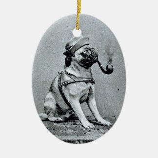 Vintage Classy Pug Photograph Christmas Tree Ornaments