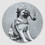 Vintage Classy Pug Photograph Stickers