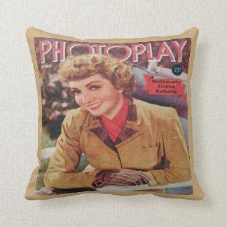 Vintage Claudette Colbert Film Mag Throw Pillow