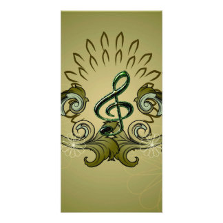 Vintage, clef with damasks photo card