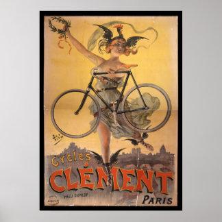 Vintage Clement Paris Bicycle Ad Art Poster Girl