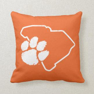 Vintage Clemson SC Paw Throw Pillow