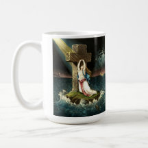 Vintage Clinging To Christ The Rock in Faith 1871 Classic White Coffee Mug