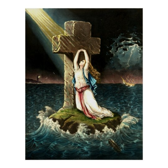 Vintage Clinging To Christ The Rock in Faith 1871 Poster