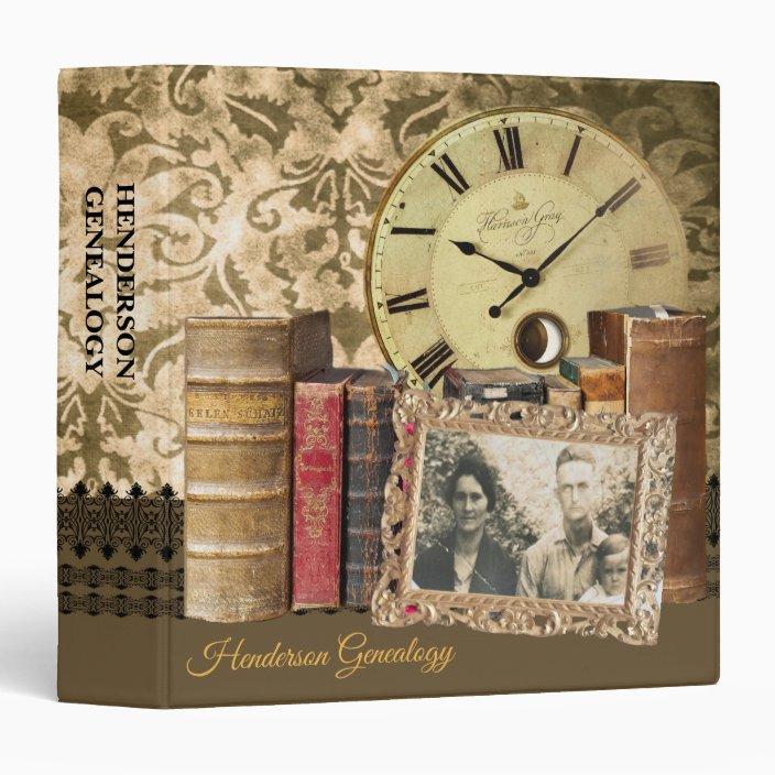 Clock And Books Genealogy 3 Ring Binder
