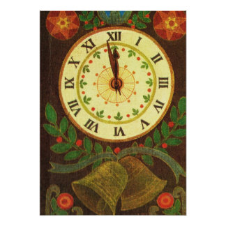 Vintage clock, Countdown to Christmas Poster