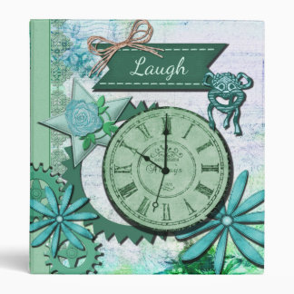 Vintage Clock Face and Gears 3 Ring Binder