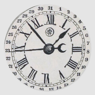 Vintage Clock Face Moon Phase Classic Round Sticker
