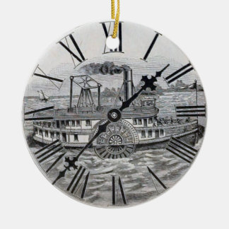 Vintage Clock Face Riverboat Ceramic Ornament