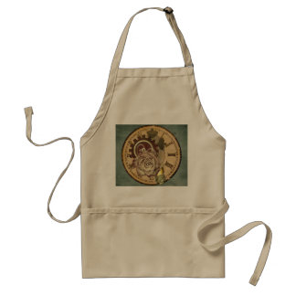 Vintage Clock Face, Rose and Industrial Parts Adult Apron