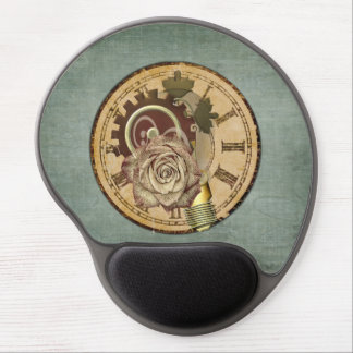 Vintage Clock Face, Rose and Industrial Parts Gel Mouse Pad