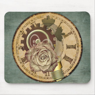 Vintage Clock Face, Rose and Industrial Parts Mouse Pad