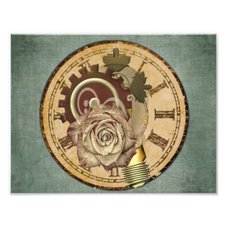 Vintage Clock Face, Rose and Industrial Parts Photo Print