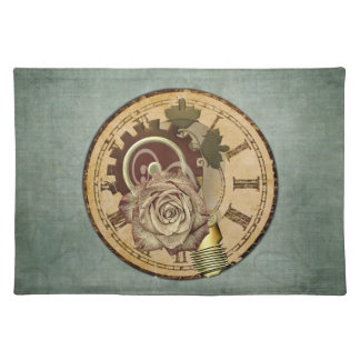 Vintage Clock Face, Rose and Industrial Parts Place Mat