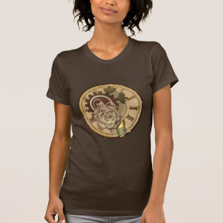 Vintage Clock Face, Rose and Industrial Parts T Shirt