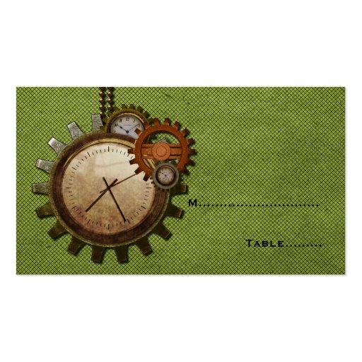 Vintage Clock Place Card Green Business Card Zazzle