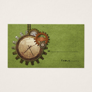 Vintage Clock Place Card, Green Business Card