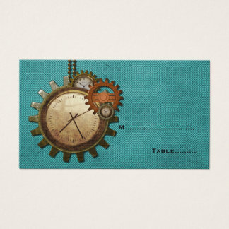 Vintage Clock Place Card, Turquoise Business Card