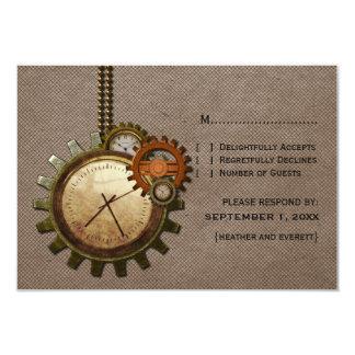 Vintage Clock Response Card, Mocha 3.5x5 Paper Invitation Card