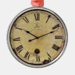 Vintage Clock Round Metal Christmas Ornament