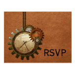 Vintage Clock RSVP Postcard, Copper