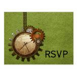 Vintage Clock RSVP Postcard, Green