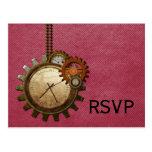 Vintage Clock RSVP Postcard, Pink