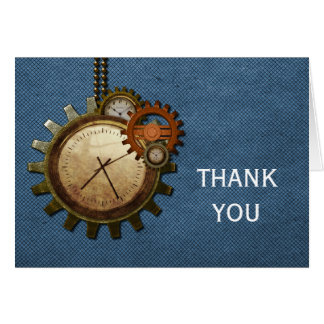 Vintage Clock Thank You Card, Blue Card