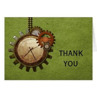Vintage Clock Thank You Card, Green Card