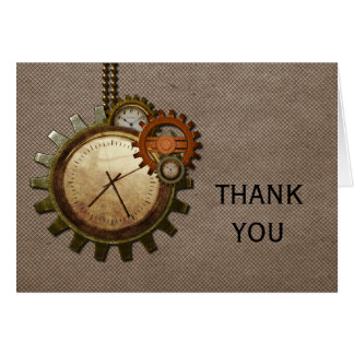 Vintage Clock Thank You Card, Mocha Card