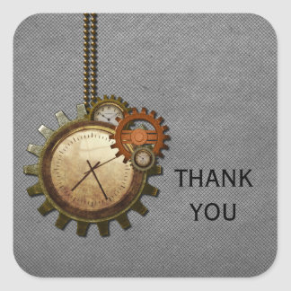Vintage Clock Thank You Stickers, Gray Square Sticker