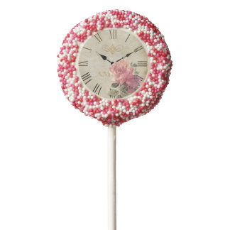 Vintage Clock Time Rose Flower Cake Pop Sprinkles Chocolate Dipped Oreo Pop