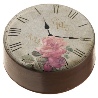 Vintage Clock Time Rose Flower Chocolate Dipped Chocolate Covered Oreo