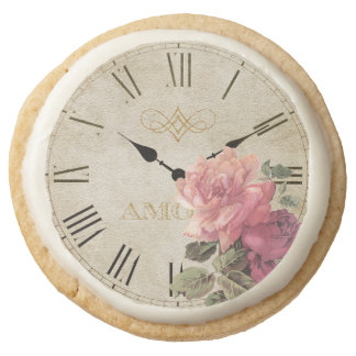 Vintage Clock Time Rose Flower Shabby Chic Cookie