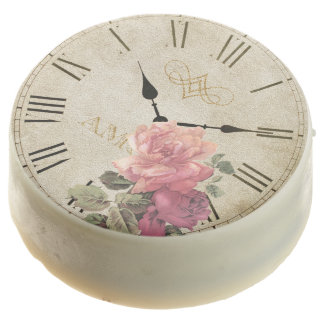 Vintage Clock Time Rose Flower White Chocolate Chocolate Covered Oreo