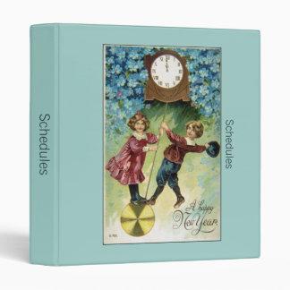 Vintage Clock Turns Midnight 3 Ring Binder